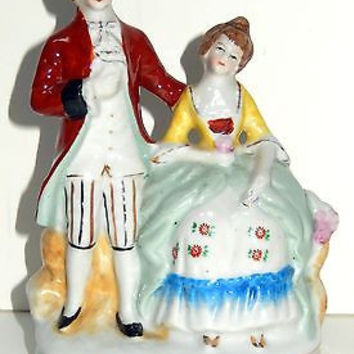 Occupied Japan Maruyama Porcelain Figurine Victorian Colonial Hand Painted