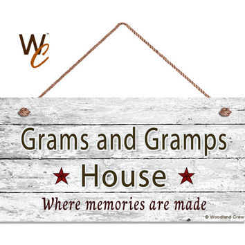 "Grams and Gramps House Sign, Where Memories Are Made, Distressed Wall Art, Gift For Grandparents, Weatherproof, 5"" x 10"" Sign, Made To Order"