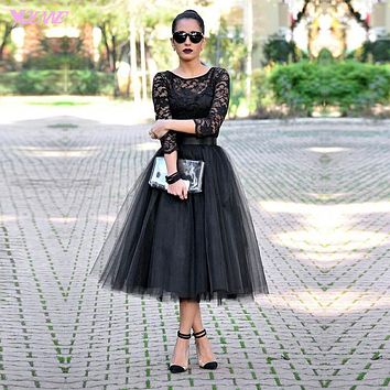 Elegant Black Lace Cocktail Dresses Women Party Dress Tulle 3/4 Sleeves Back Zipper Tea Length Vestido De Festa