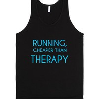Running,cheaper Than Therapy-Unisex Black Tank