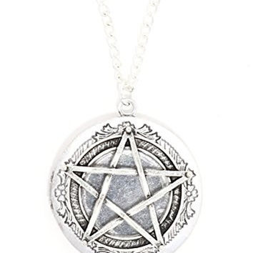 Pentagram Locket Necklace Vintage Antique Silver Tone Star Pentacle Pendant NT46 Fashion Jewelry