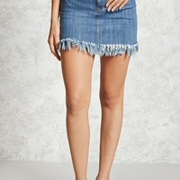 Contemporary Frayed Denim Skirt