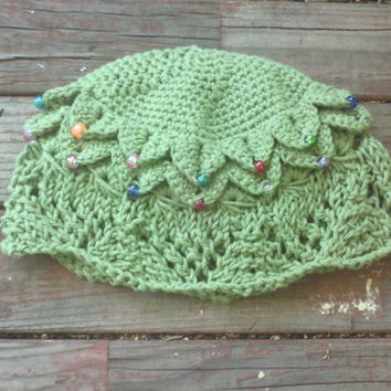 "Knit ""V"" Lace, Broomstick Lace, and Crocodile Crochet Cotton Sun Cloche with beads"