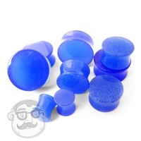 Double Flare Glow in Dark Blue Plugs (8 Gauge - 1 Inch) | UrbanBodyJewelry.com