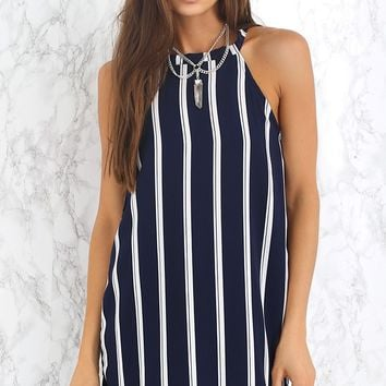 Flipside Dress Navy Double Stripe