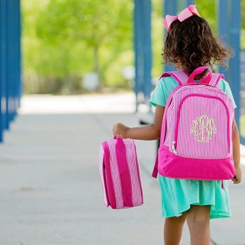 Preschool backpack and lunchbox set! Pin Stripe Pink and Navy