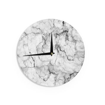 "Chelsea Victoria ""Marble No 2 "" Black Modern Wall Clock - Outlet Item"