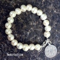 Monogrammed Freshwater Pearl Bracelet | Sterling Charm | Marley Lilly