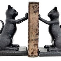 """Hi Five Black Cat Bookends Playful Cats Book Ends (Pair) 8"""" Inches"""