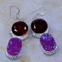"TITANIUM DRUZY+GARNET EARRINGS 2 1/2""; P35741"