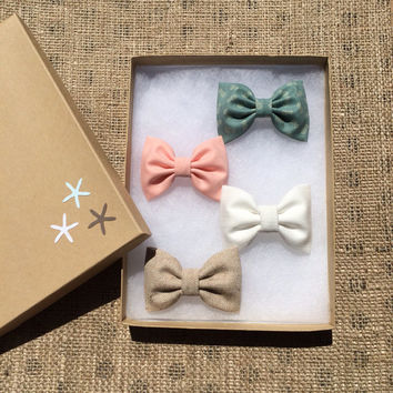 Green tiny pineapple, peach, white, and tan chambray hair bows from Seaside Sparrow.  Perfect birthday gift for her this Spring/Summer.