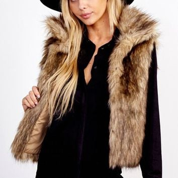 Always Extra Brown Faux Fur Sleeveless Vest Outerwear