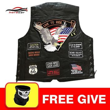 New Genuine Leather Motorcycle Vest Men Punk Retro Classic Style 14 Patches Motorcycle Jacket Biker Club Casual Vest Clothing