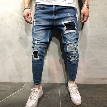 Patched Jeans Streetwear 3687