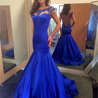 Backless Mermaid Prom Dresses,Blue Prom Dress,Long Evening Dress