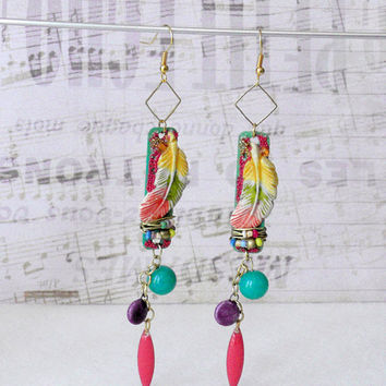 Hippie Earrings, Feather Earrings, Gypsy Earrings, Boho Chic, Bohemian Jewelry, Ethnic Style, Handmade Jewelry, Mothers Day, Dangle Earrings