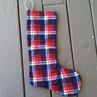 Red Flannel Single Christmas stocking- stocking- Stocking stuffer ideas-christmas decorations-Black Friday sale-Christmas decor