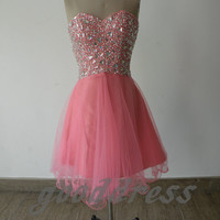 2013 exquisit pink sweetheart more crystal beaded piping knee length party girl dress short prom cocktail dress gowns