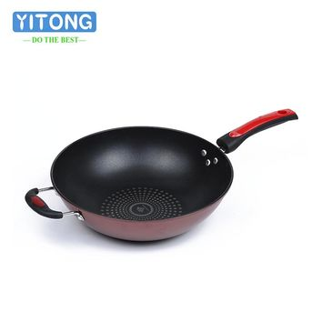 2018 New 32CM Smokeless Wok Sets Non-Stick Cookware Smoke Kitchen Supplies Cooking Pots Pans Without Toughened Glass Cover