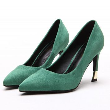 Fashion Black Green Red Kid Suede Shoes Woman Thin High Heels Pumps 9cm 7cm Women Poin