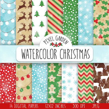 Christmas Digital Paper. Christmas Watercolor Patterns. Rustic Christmas Scrapbook Papers. Shabby Christmas Watercolor Background, Clip Art.