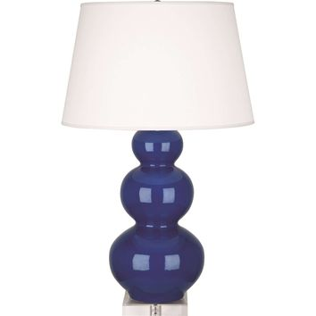 Triple Gourd Table Lamp with Lucite Base | Marine Blue