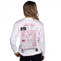 Top Ten Reasons Long Sleeve Tee in White by Southern Proper