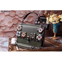 FENDI COLOR FLOWERS LEATHER HANDBAG SHOULDER BAG