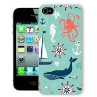 ChiChiC Iphone Case, i phone 4 4g 4s case,Iphone4 iphone4g iphone4s covers, plastic cases back cover skin protector,navy anchor whale sea horse