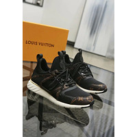 LV Louis Vuitton new tide brand female models stitching contrast color casual wild sports shoes Black