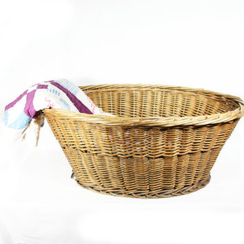 Antique Large Wicker Laundry Basket