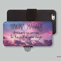 Hakuna Matata Leather Wallet iPhone 6 case iPhone 6 plus case, Wallet cover iPhone 5s case iPhone 5c case Galaxy s3 s4 s5 note 3 C00056