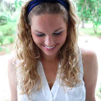 Navy Blue and Red Anchor Knot Headband - Nautical Knotted Headband - Navy Blue Knot Turban Headband - Anchor Headband - Jersey Knit Headband