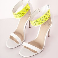 LASER CUT BARELY THERE HEELED SANDALS WHITE