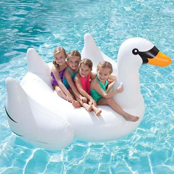 60 Inch 1.5m Giant Swan Inflatable Ride-On Water Toys For Children Adult Swimming Ring Pool Float Board Holiday Inflated Toys