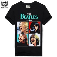 [Men bone] New Fashion Men black t-shirt The Beatles Rock band Tshirt Black printing t shirts Hip Hop Rock tees