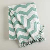 Blue Surf and White Chevron Throw - World Market