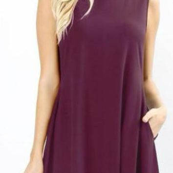 The Perfect Pocket Dress in Eggplant