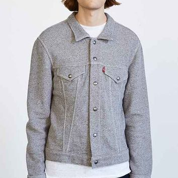 Levi's French Terry Fleece Trucker Shirt Jacket - Charcoal