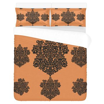 3-Piece Bedding Set (1 Duvet Cover; 2 Pillowcases) Spanish Medallion Black/Orange