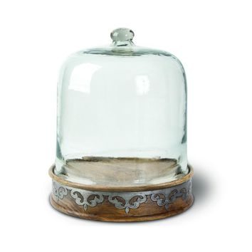 GG Collection Heritage Wood Pastry Keeper with Glass Dome
