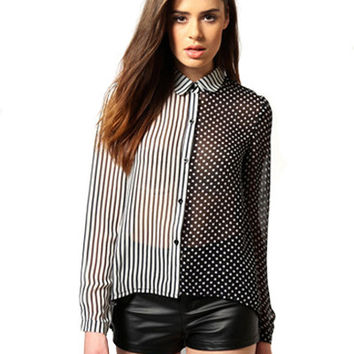 Stripe And Polka Dot Long Sleeve With Collar