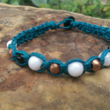 Mens Hemp Bracelet, Handmade, Copper Beads, Blue, Fall Fashion, Gift for Him, Hemp Bracelet, Discounted USA Shipping