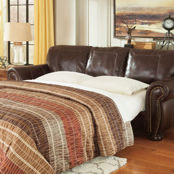 Banner collection coffee leather match upholstered pull out queen sleeper sofa with memory foam mattress