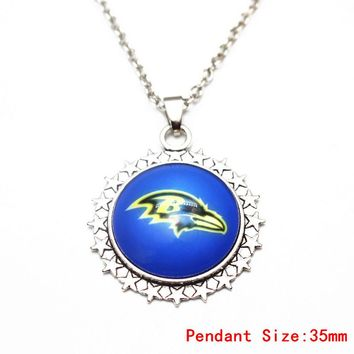 1pcs Silver 20 Inch Chains Necklace Vintage Star Football Baltimore Ravens Glass Pendant Necklace For Women Men Necklace Jewelry