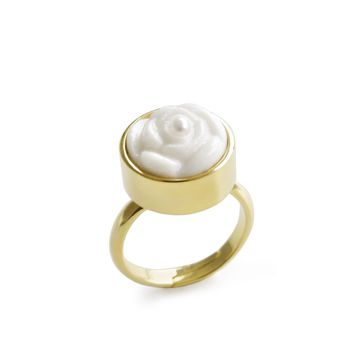 Porcelain Rose With Pearl Adjustable Ring   Porcelain Rose With Pearl Adjustable Ring   Porcelain Rose With Pearl Adjustable Ri