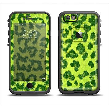 The Vibrant Green Cheetah Apple iPhone 6 LifeProof Fre Case Skin Set