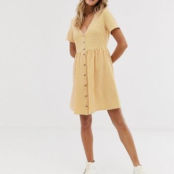ASOS DESIGN mini v neck button through smock dress in stripe | ASOS