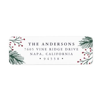 Holly and Pine | Holiday Return Address Label