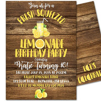 Lemonade Stand Invitations -  Lemonade Birthday Invitations - Lemonade 1st Birthday - Rustic Wood Lemonade Invites Girl Boy Any Age